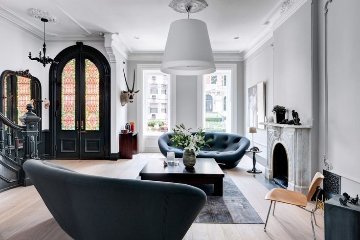 This brownstone is a study in neutrals aphrochic for Brownstone living room decorating ideas