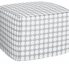AphroChic Darro Pouf in Gray and White