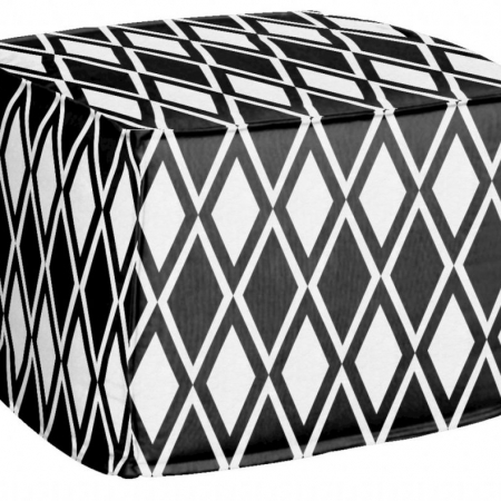 AphroChic Kuba Pouf in Black and White