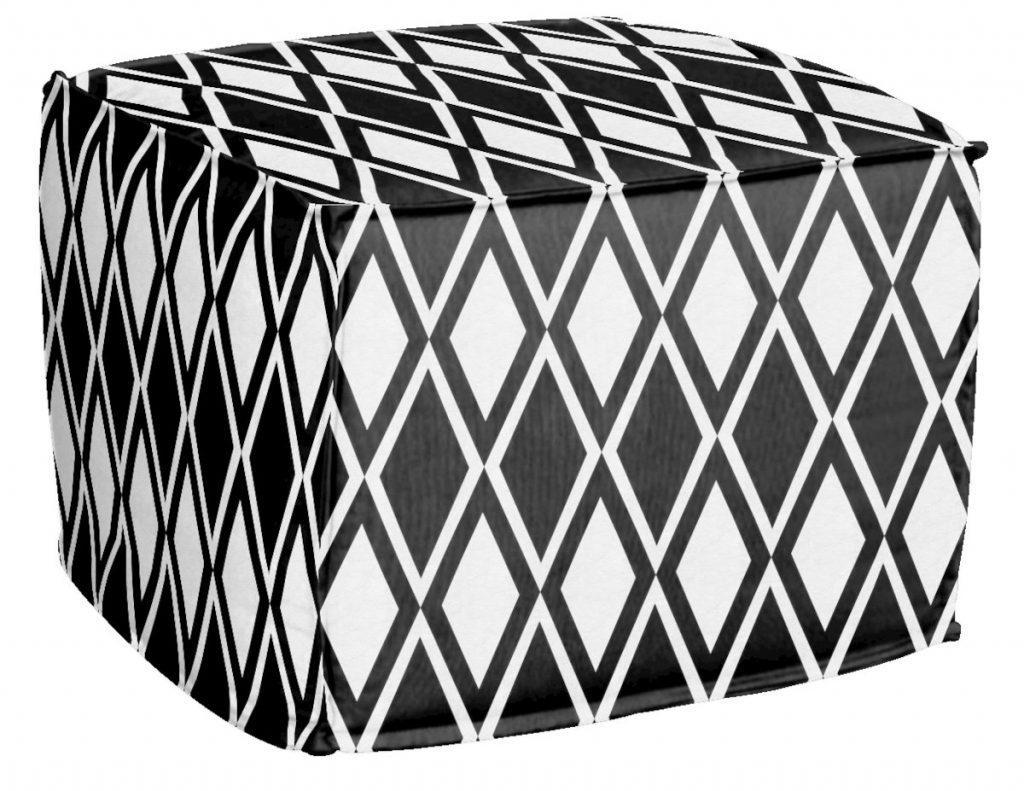 AphroChic Kuba Pouf in Black and White