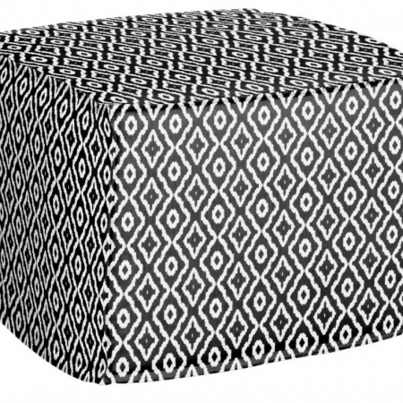 AphroChic Haze Petite Pouf in Black and White