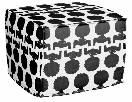 AphroChic Silhouette Pouf in Black and White