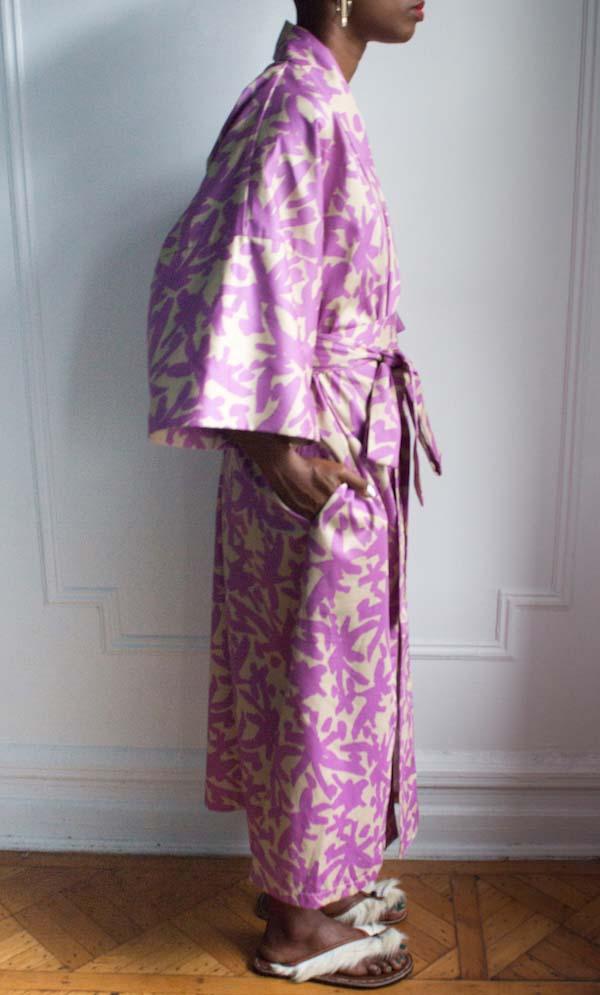 AphroChic Long Juju Kimono side view with belt