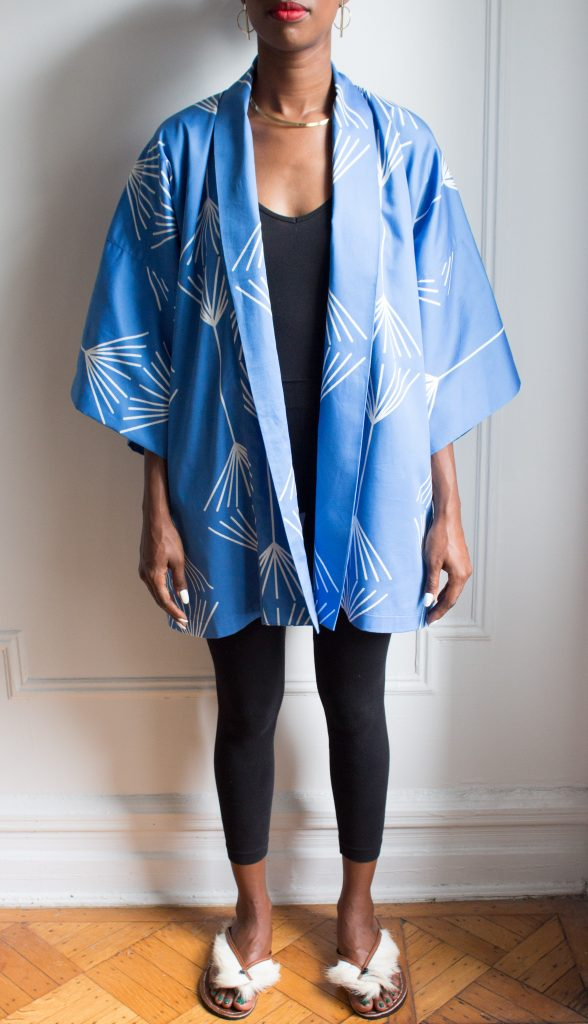 AphroChic Short Jumping the Broom Kimono front view without belt