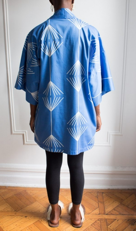 AphroChic Short Jumping the Broom Kimono back view without belt