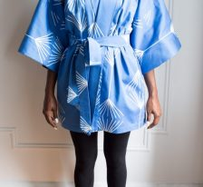AphroChic Short Jumping the Broom Kimono front view with belt