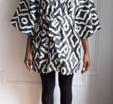 AphroChic Short Haze Kimono front view with belt