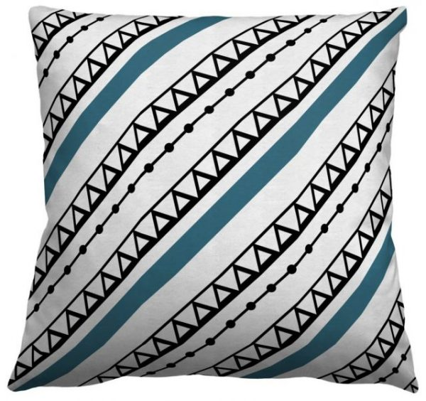 AphroChic Ndop Throw Pillow in Blue and White