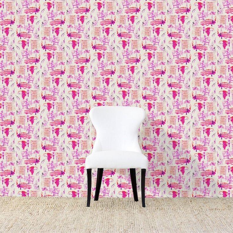 Hustle Fuchsia Wallpaper